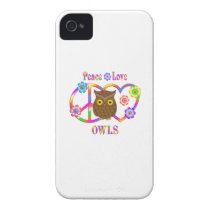 Peace Love Owls iPhone 4 Case-Mate Case