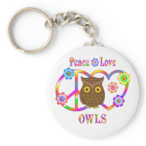 Peace Love Owls Keychain