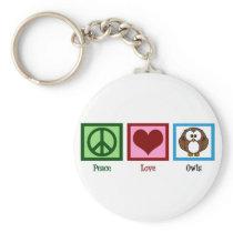 Peace Love Owls Keychain