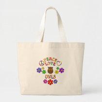 Peace Love Owls Large Tote Bag