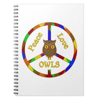 Peace Love Owls Notebook