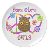 Peace Love Owls Plate