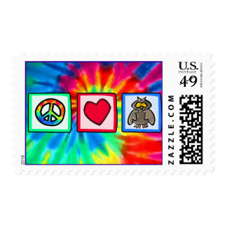 Peace, Love, Owls Postage Stamp