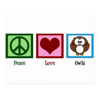 Peace Love Owls Postcard