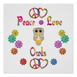 PEACE LOVE OWLS POSTERS