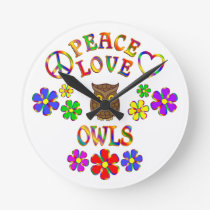 Peace Love Owls Round Clock