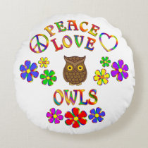 Peace Love Owls Round Pillow