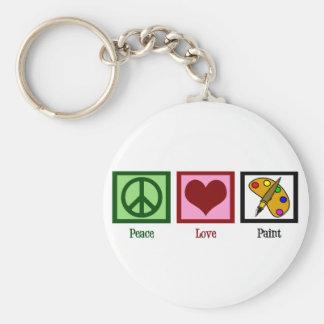 Peace Love Paint Basic Round Button Keychain