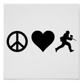 Peace Love Paintball Poster