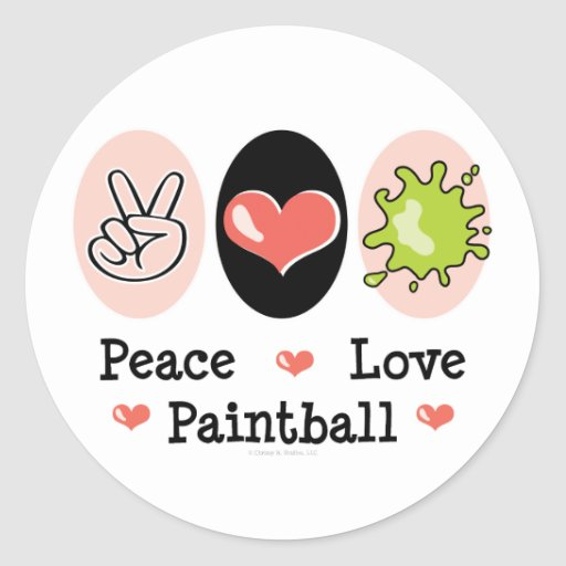 Peace Love Paintball Stickers