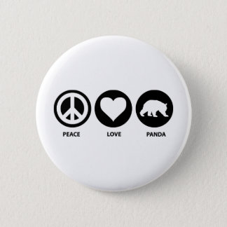 Peace Love Panda Pinback Button