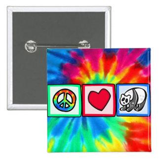 Peace, Love, Pandas 2 Inch Square Button