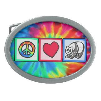 Peace, Love, Pandas Oval Belt Buckle