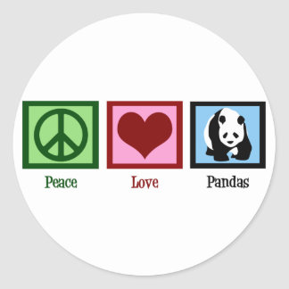 Peace Love Pandas Classic Round Sticker