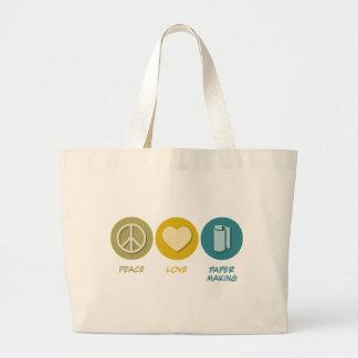 Peace Love Paper Making Tote Bags