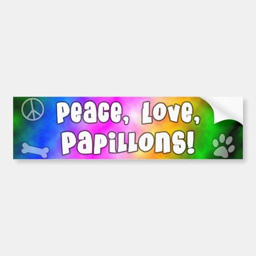 Peace Love Papillons Bumper Sticker