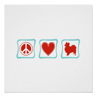 Peace Love Papillons Squares Poster