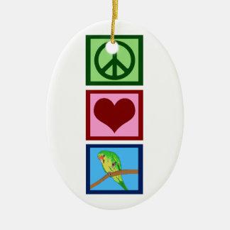 Peace Love Parakeets Ceramic Ornament