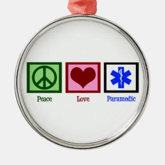 Peace Love Paramedic Round Metal Christmas Ornament