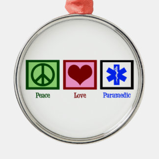 Peace Love Paramedic Round Metal Christmas Ornament
