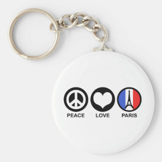 Peace Love Paris Basic Round Button Keychain