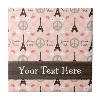 Peace Love Paris Ceramic Tile Trivet