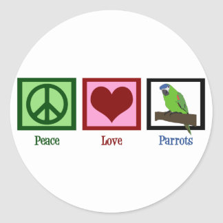 Peace Love Parrots Classic Round Sticker