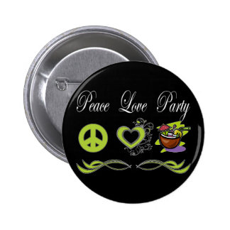 Peace Love Party 2 Inch Round Button