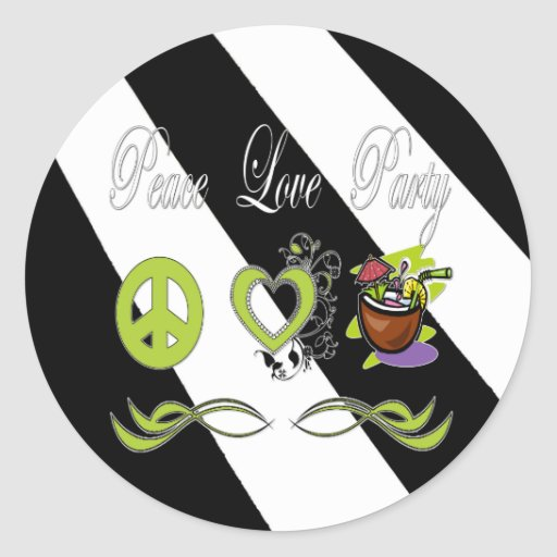Peace Love Party Classic Round Sticker
