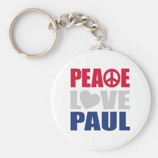 Peace Love Paul Basic Round Button Keychain
