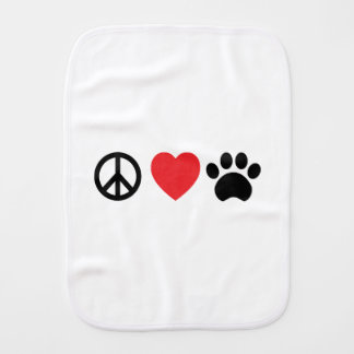 Peace Love Paw Baby Burp Cloth