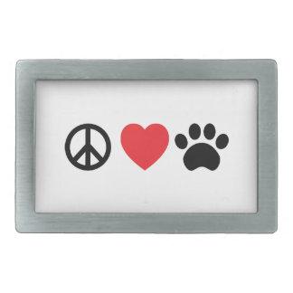 Peace, Love, Paw Belt Buckle
