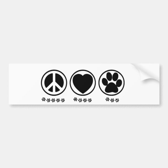 Peace Love Paw Bumper Sticker