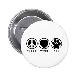 Peace Love Paw 2 Inch Round Button
