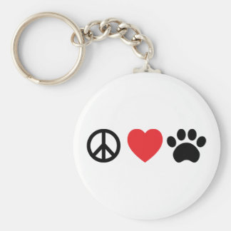 Peace, Love, Paw Button Keychain