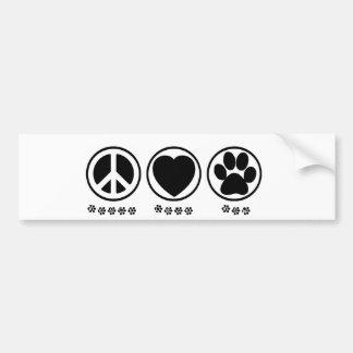 Peace Love Paw Car Bumper Sticker