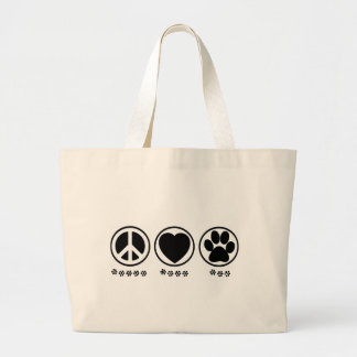 Peace Love Paw Large Tote Bag