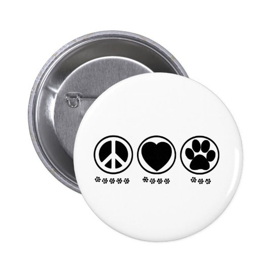 Peace Love Paw Pinback Button