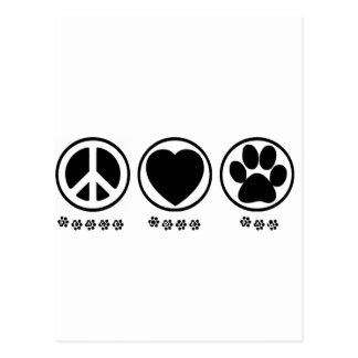 Peace Love Paw Postcard