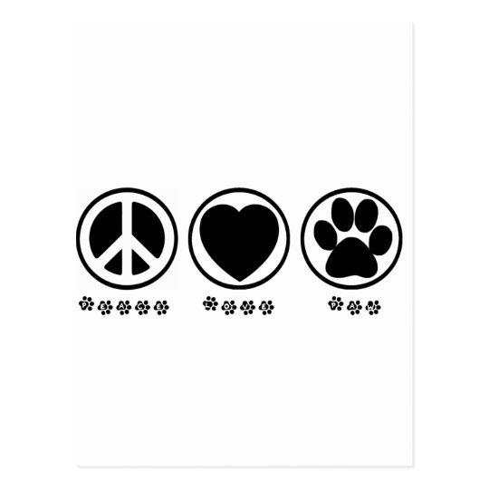 Peace Love Paw Postcard