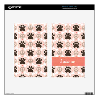 Peace Love Paw Print Kindle Fire Skin
