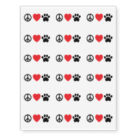Peace, Love, Paw Temporary Tattoos
