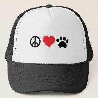 Peace Love Paw Trucker Hat