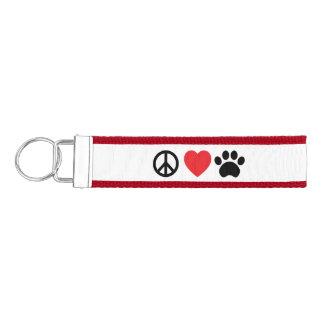 Peace, Love, Paw Wristlet Keychain