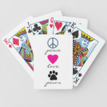 Peace Love Paws Bicycle Playing Cards