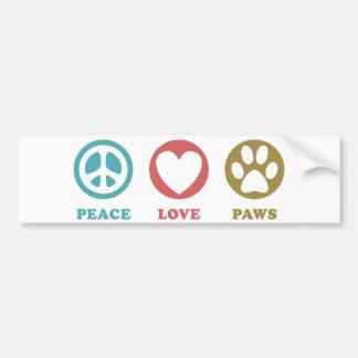 Peace Love Paws Car Bumper Sticker