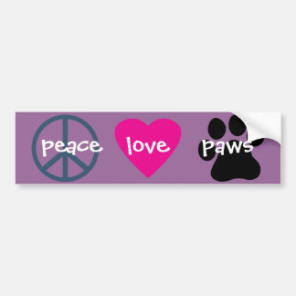 Peace Love Paws Bumper Sticker