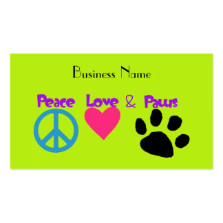 Peace Love & Paws Double-Sided Standard Business Cards (Pack Of 100)