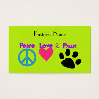 Peace Love & Paws Business Card