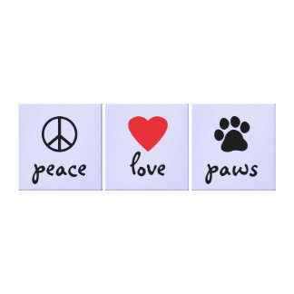 Peace Love Paws Stretched Canvas Prints